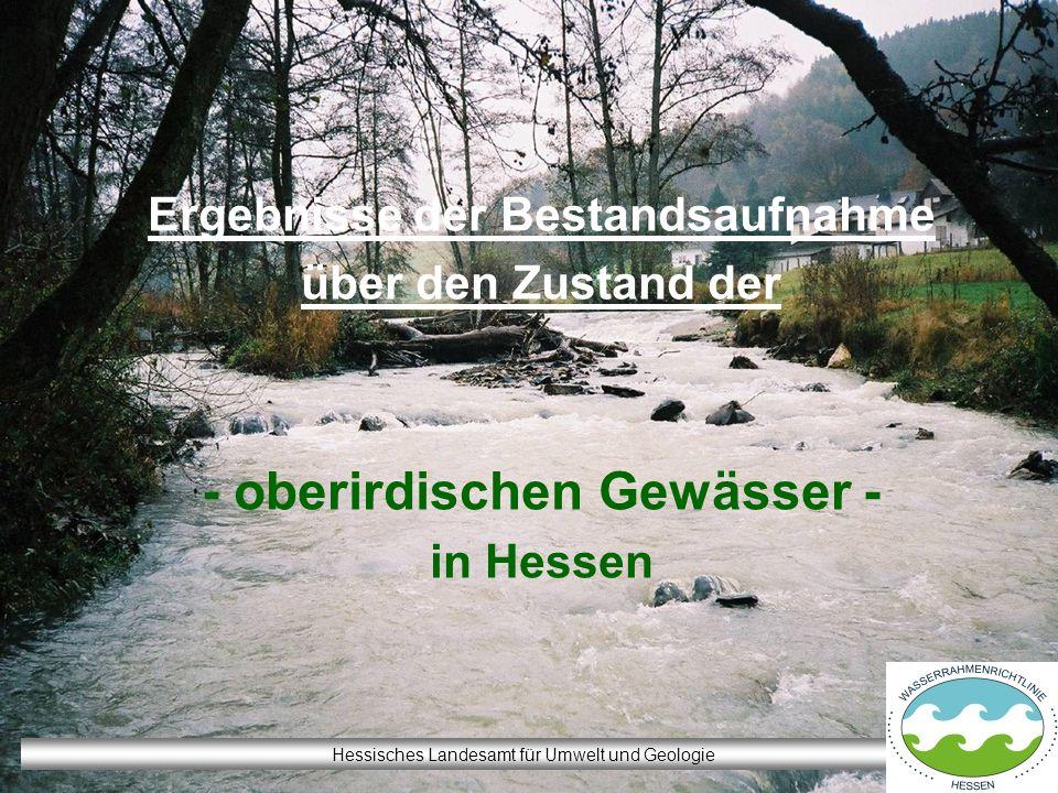 Ergebnisse der Bestandsaufnahme über den Zustand der - oberirdischen Gewässer - in Hessen Hessisches Landesamt für Umwelt und Geologie