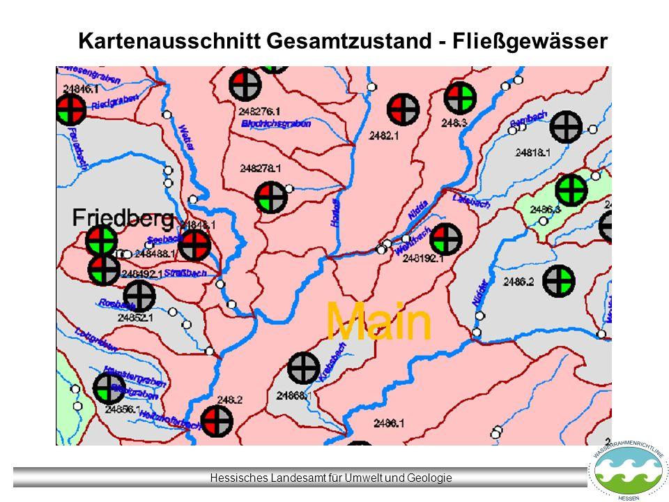 Hessisches Landesamt für Umwelt und Geologie Kartenausschnitt Gesamtzustand - Fließgewässer