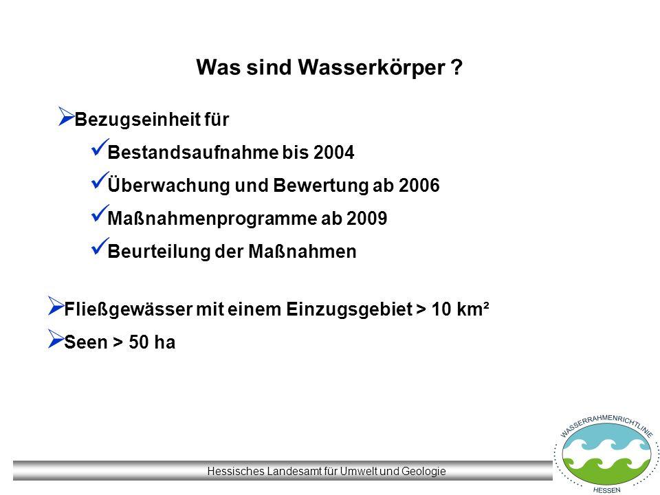 Hessisches Landesamt für Umwelt und Geologie Was sind Wasserkörper ? Fließgewässer mit einem Einzugsgebiet > 10 km² Seen > 50 ha Bezugseinheit für Bes