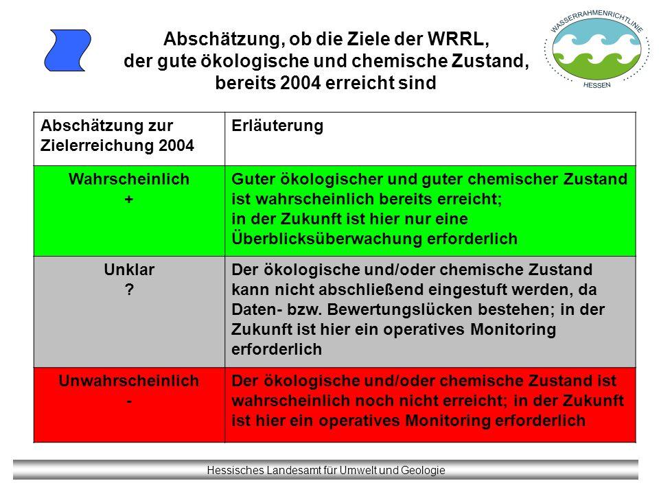 Hessisches Landesamt für Umwelt und Geologie Abschätzung, ob die Ziele der WRRL, der gute ökologische und chemische Zustand, bereits 2004 erreicht sin