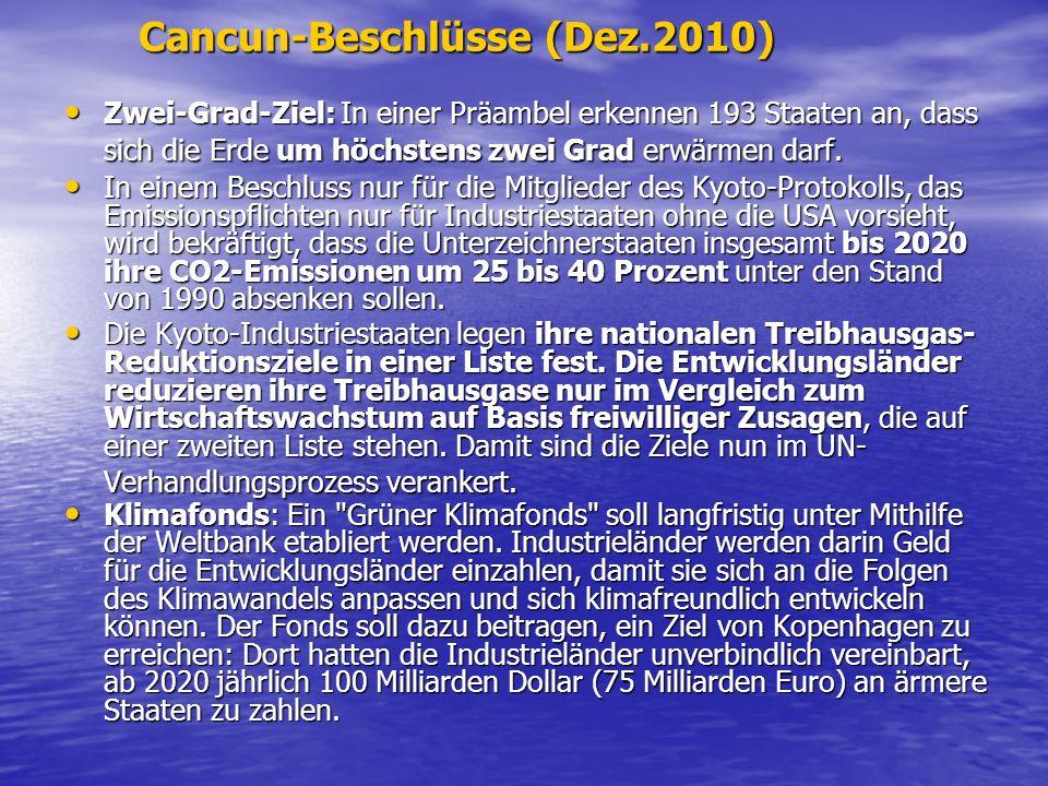 Cancun-Beschlüsse (Dez.2010) Zwei-Grad-Ziel: In einer Präambel erkennen 193 Staaten an, dass sich die Erde um höchstens zwei Grad erwärmen darf. Zwei-
