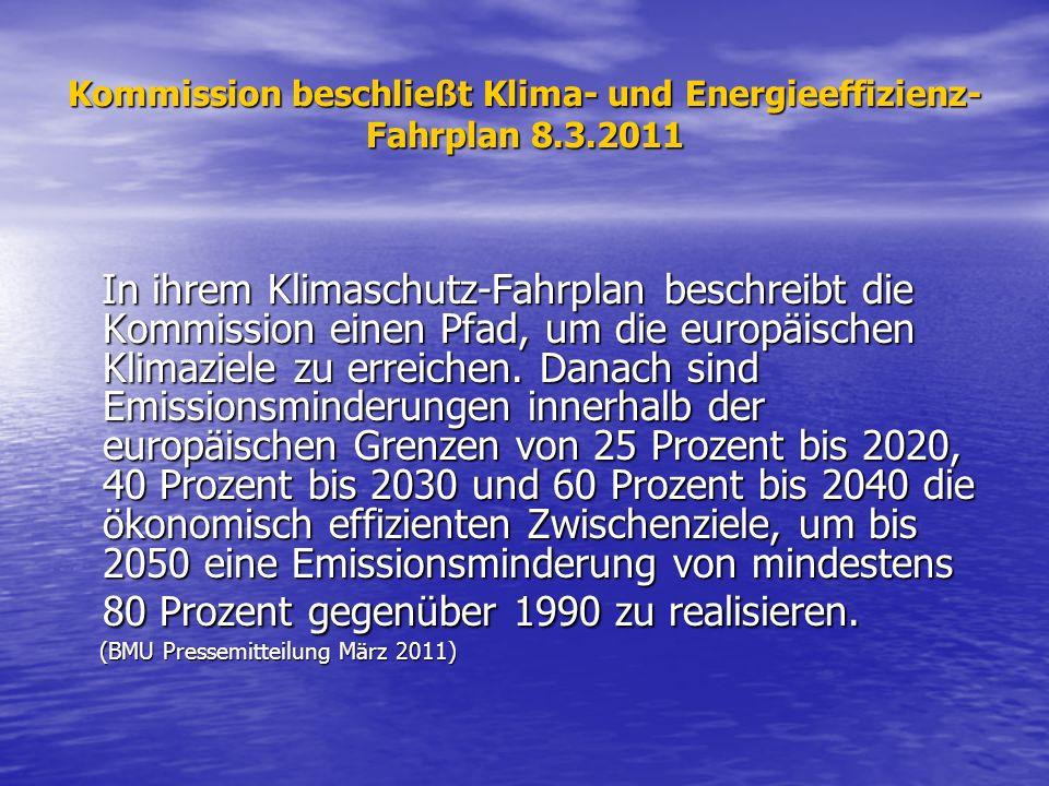 Kommission beschließt Klima- und Energieeffizienz- Fahrplan 8.3.2011 In ihrem Klimaschutz-Fahrplan beschreibt die Kommission einen Pfad, um die europä