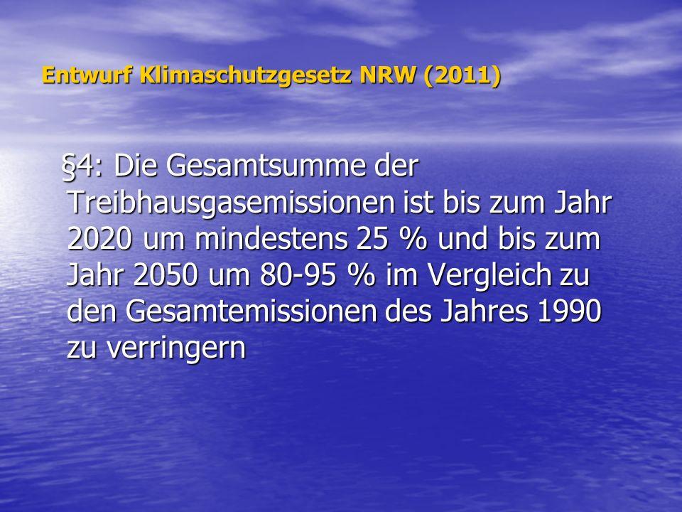 Entwurf Klimaschutzgesetz NRW (2011) §4: Die Gesamtsumme der Treibhausgasemissionen ist bis zum Jahr 2020 um mindestens 25 % und bis zum Jahr 2050 um