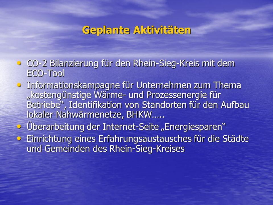 Geplante Aktivitäten CO-2 Bilanzierung für den Rhein-Sieg-Kreis mit dem ECO-Tool CO-2 Bilanzierung für den Rhein-Sieg-Kreis mit dem ECO-Tool Informati