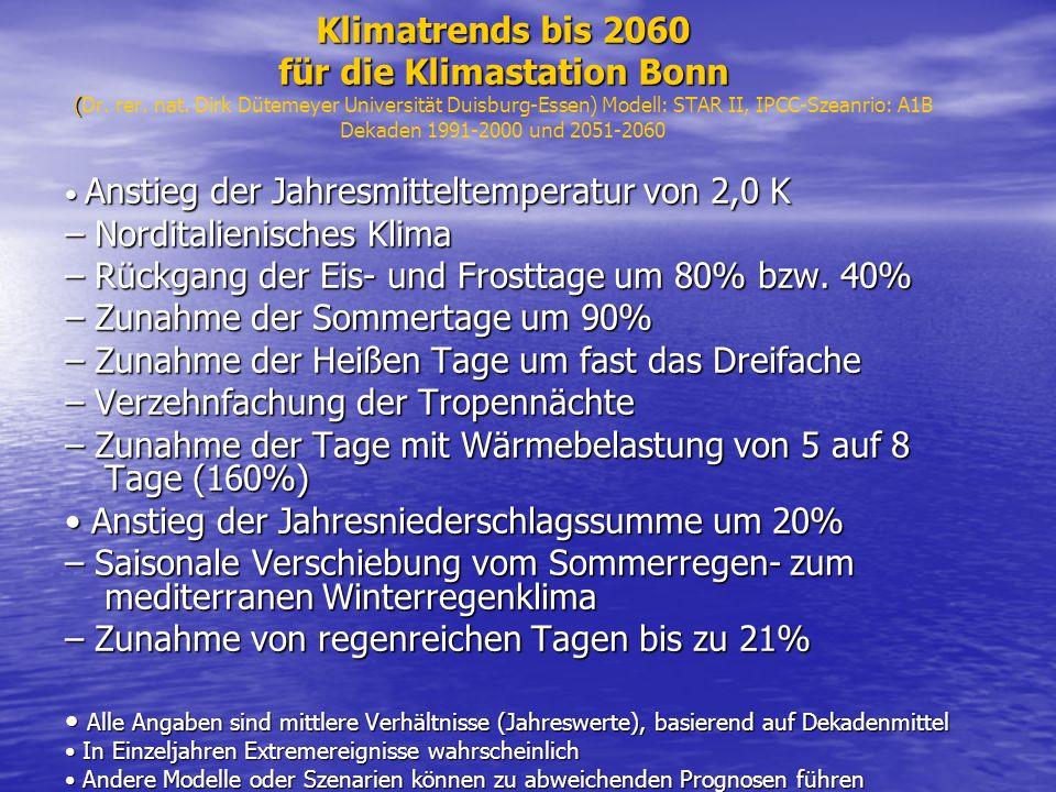 Klimatrends bis 2060 für die Klimastation Bonn ( Klimatrends bis 2060 für die Klimastation Bonn (Dr. rer. nat. Dirk Dütemeyer Universität Duisburg-Ess