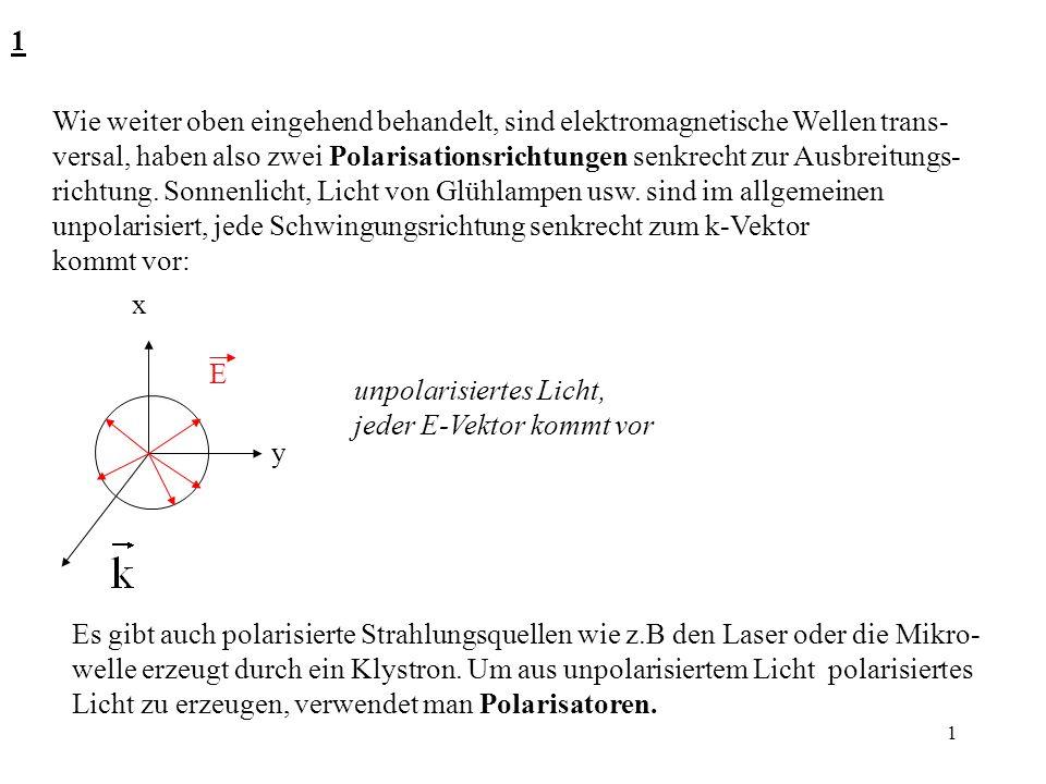 1 1 Wie weiter oben eingehend behandelt, sind elektromagnetische Wellen trans- versal, haben also zwei Polarisationsrichtungen senkrecht zur Ausbreitu