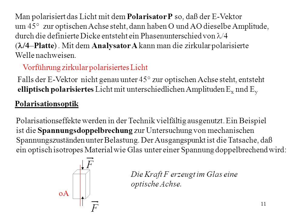 11 Man polarisiert das Licht mit dem Polarisator P so, daß der E-Vektor um 45° zur optischen Achse steht, dann haben O und AO dieselbe Amplitude, durc