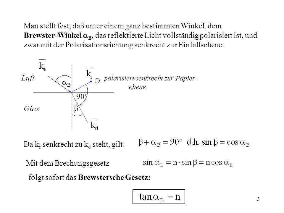 3 Man stellt fest, daß unter einem ganz bestimmten Winkel, dem Brewster-Winkel B, das reflektierte Licht vollständig polarisiert ist, und zwar mit der