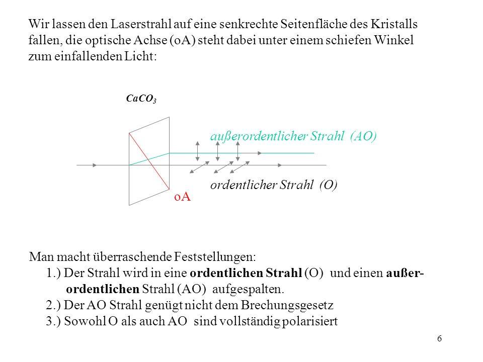 6 Wir lassen den Laserstrahl auf eine senkrechte Seitenfläche des Kristalls fallen, die optische Achse (oA) steht dabei unter einem schiefen Winkel zu