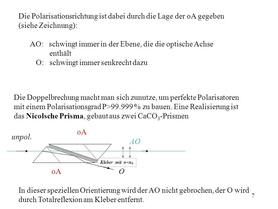 7 Die Polarisationsrichtung ist dabei durch die Lage der oA gegeben (siehe Zeichnung): AO: schwingt immer in der Ebene, die die optische Achse enthält