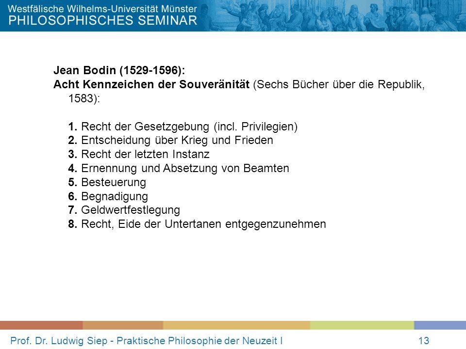 Prof. Dr. Ludwig Siep - Praktische Philosophie der Neuzeit I13 Jean Bodin (1529-1596): Acht Kennzeichen der Souveränität (Sechs Bücher über die Republ