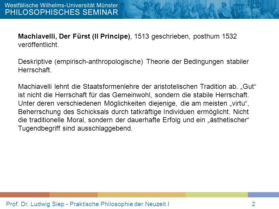 Prof. Dr. Ludwig Siep - Praktische Philosophie der Neuzeit I2 Machiavelli, Der Fürst (Il Principe), 1513 geschrieben, posthum 1532 veröffentlicht. Des