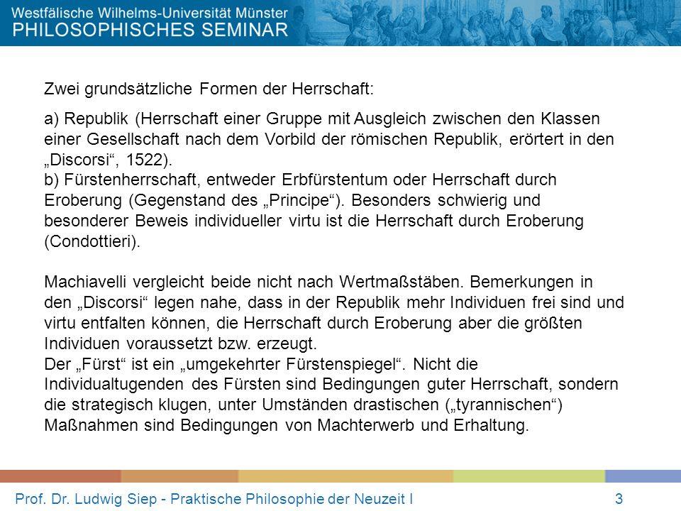 Prof. Dr. Ludwig Siep - Praktische Philosophie der Neuzeit I3 Zwei grundsätzliche Formen der Herrschaft: a) Republik (Herrschaft einer Gruppe mit Ausg