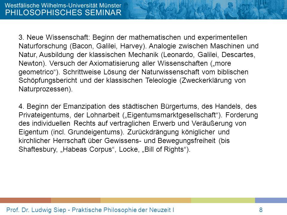 Prof. Dr. Ludwig Siep - Praktische Philosophie der Neuzeit I8 3. Neue Wissenschaft: Beginn der mathematischen und experimentellen Naturforschung (Baco