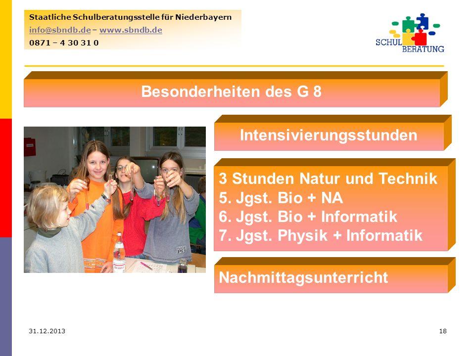 31.12.201318 Staatliche Schulberatungsstelle für Niederbayern info@sbndb.deinfo@sbndb.de – www.sbndb.dewww.sbndb.de 0871 – 4 30 31 0 Besonderheiten de