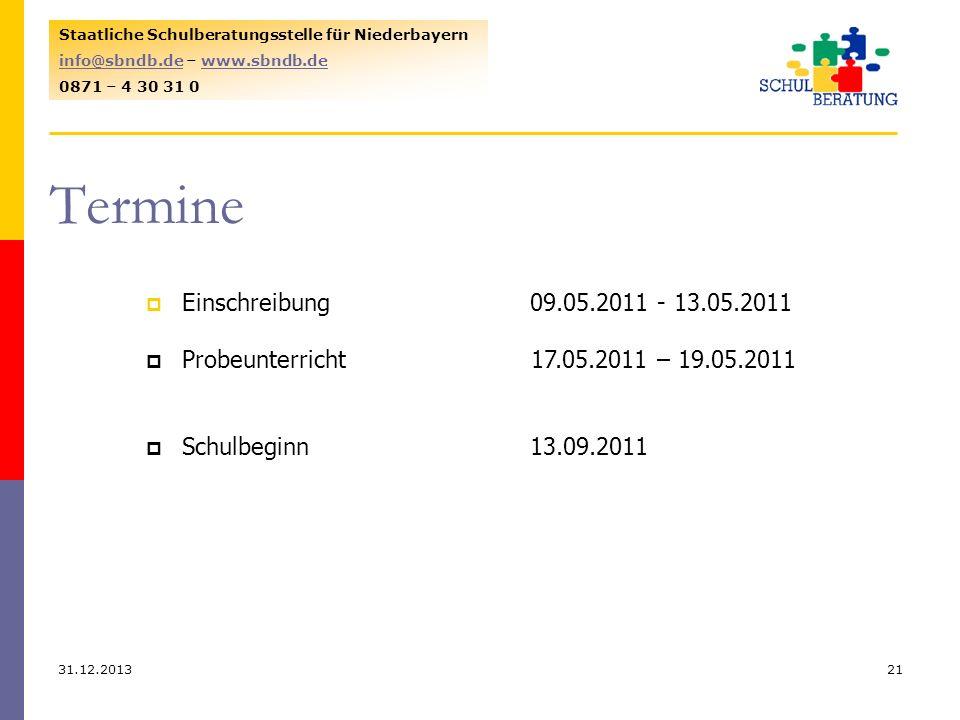 31.12.201321 Staatliche Schulberatungsstelle für Niederbayern info@sbndb.deinfo@sbndb.de – www.sbndb.dewww.sbndb.de 0871 – 4 30 31 0 Termine Einschrei