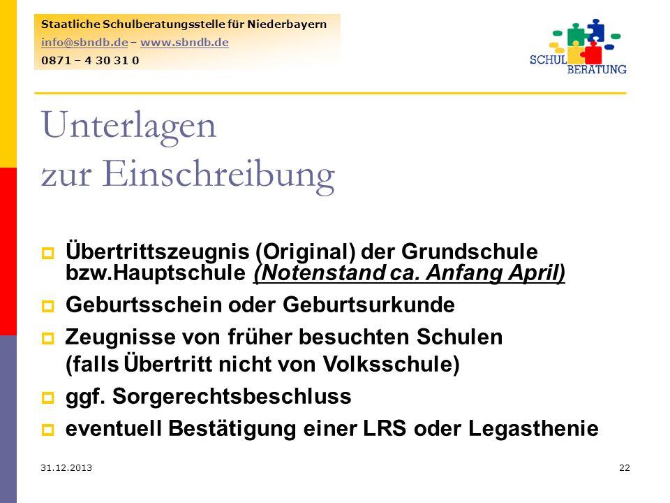 31.12.201322 Staatliche Schulberatungsstelle für Niederbayern info@sbndb.deinfo@sbndb.de – www.sbndb.dewww.sbndb.de 0871 – 4 30 31 0 Unterlagen zur Ei