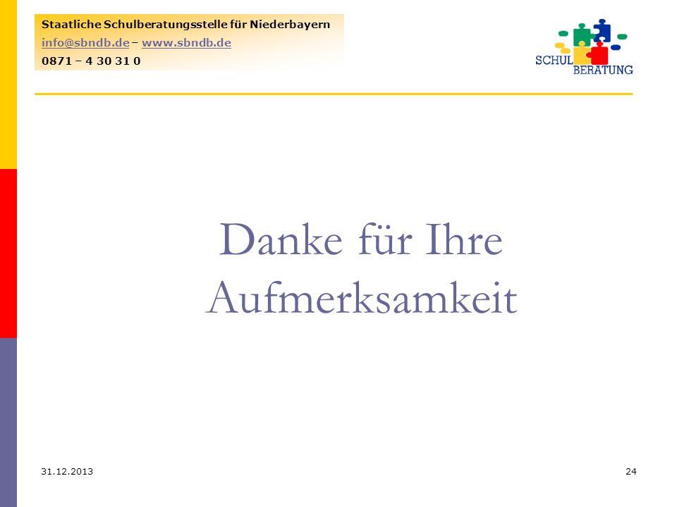 31.12.201324 Staatliche Schulberatungsstelle für Niederbayern info@sbndb.deinfo@sbndb.de – www.sbndb.dewww.sbndb.de 0871 – 4 30 31 0 Danke für Ihre Au