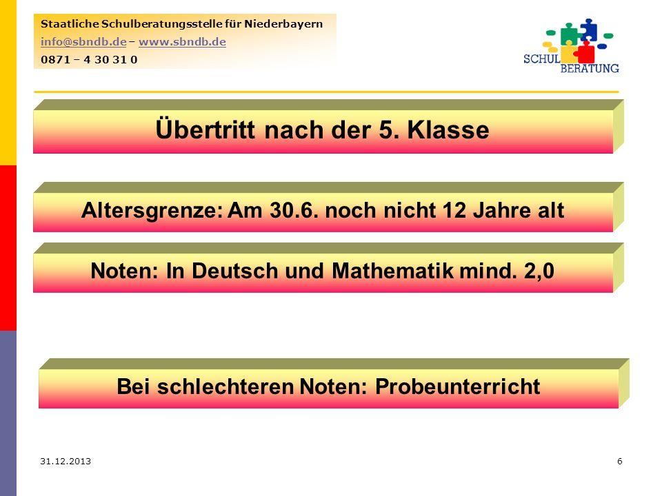 31.12.20136 Staatliche Schulberatungsstelle für Niederbayern info@sbndb.deinfo@sbndb.de – www.sbndb.dewww.sbndb.de 0871 – 4 30 31 0 Übertritt nach der