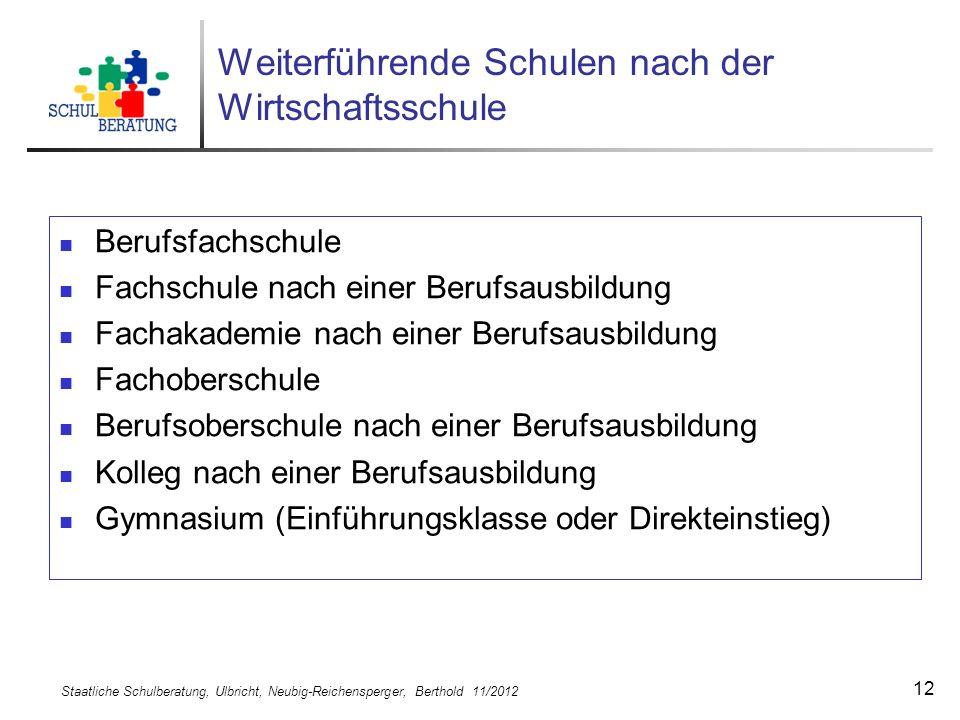 Staatliche Schulberatung, Ulbricht, Neubig-Reichensperger, Berthold 11/2012 12 Weiterführende Schulen nach der Wirtschaftsschule Berufsfachschule Fach