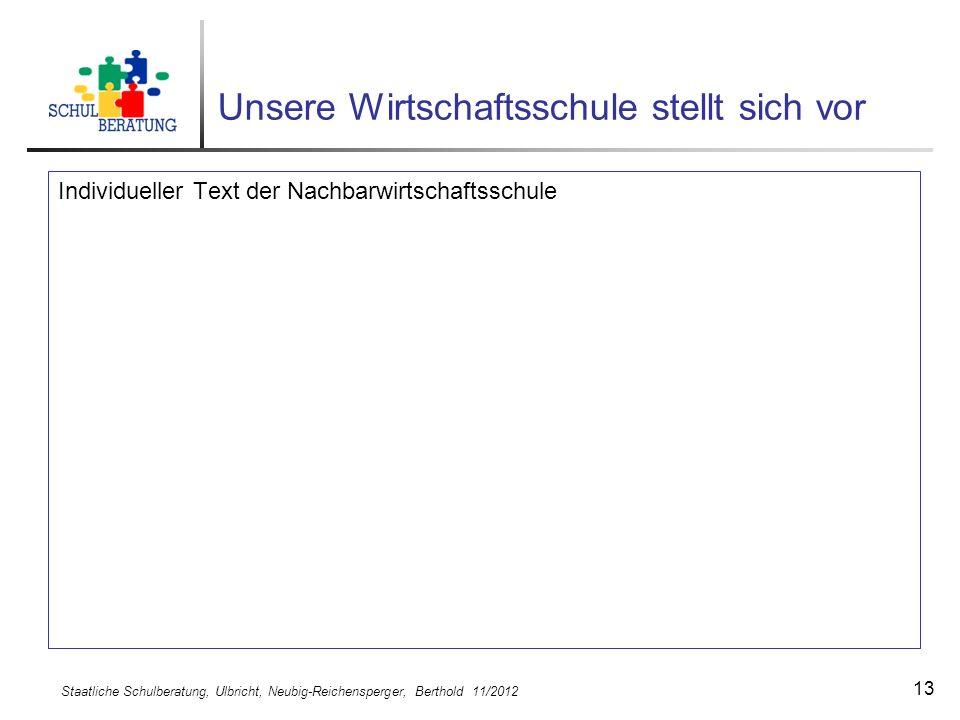 Staatliche Schulberatung, Ulbricht, Neubig-Reichensperger, Berthold 11/2012 13 Unsere Wirtschaftsschule stellt sich vor Individueller Text der Nachbar