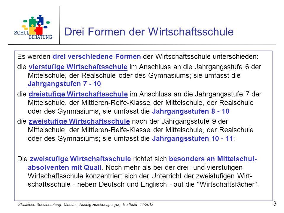 Staatliche Schulberatung, Ulbricht, Neubig-Reichensperger, Berthold 11/2012 3 Drei Formen der Wirtschaftsschule Es werden drei verschiedene Formen der