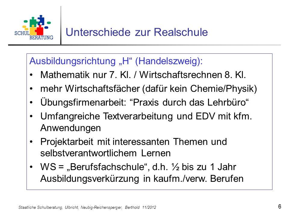Staatliche Schulberatung, Ulbricht, Neubig-Reichensperger, Berthold 11/2012 6 Unterschiede zur Realschule Ausbildungsrichtung H (Handelszweig): Mathem