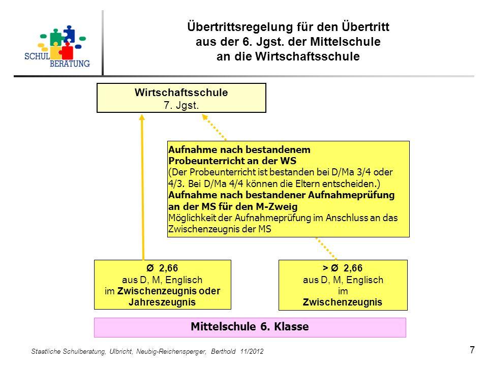 Staatliche Schulberatung, Ulbricht, Neubig-Reichensperger, Berthold 11/2012 7 Übertrittsregelung für den Übertritt aus der 6. Jgst. der Mittelschule a