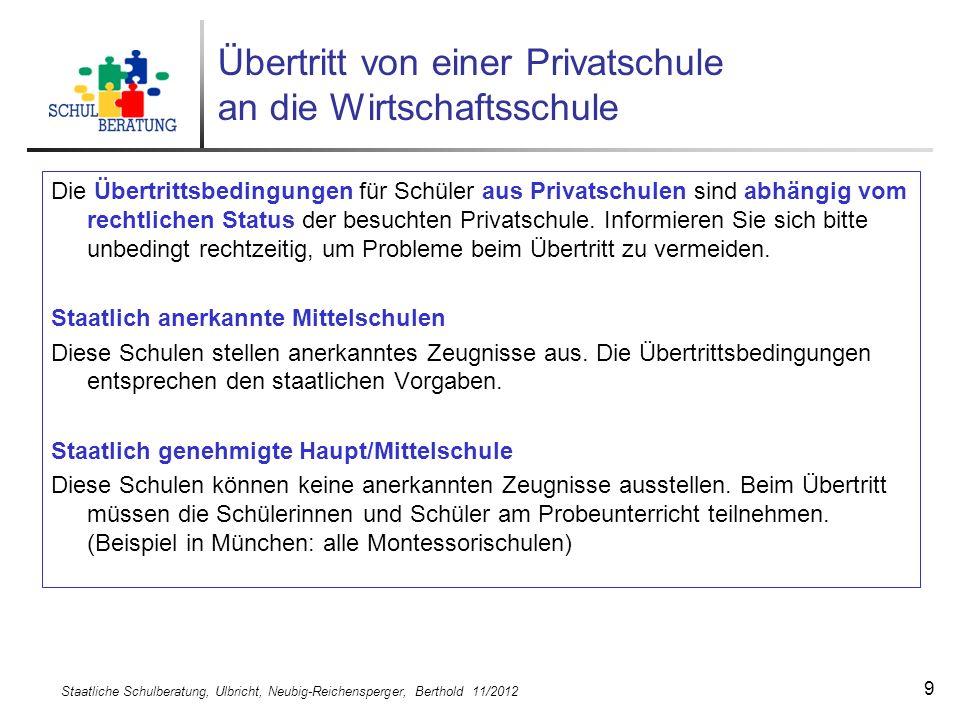 Staatliche Schulberatung, Ulbricht, Neubig-Reichensperger, Berthold 11/2012 10 Probezeit und Elternwille Was bedeutet Elternwille beim Beratungsgespräch.