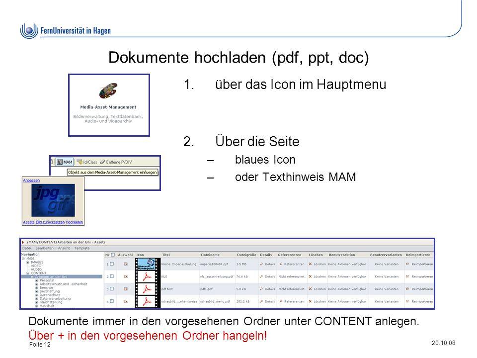 20.10.08 Folie 12 Dokumente hochladen (pdf, ppt, doc) 1.über das Icon im Hauptmenu 2.Über die Seite –blaues Icon –oder Texthinweis MAM Dokumente immer in den vorgesehenen Ordner unter CONTENT anlegen.