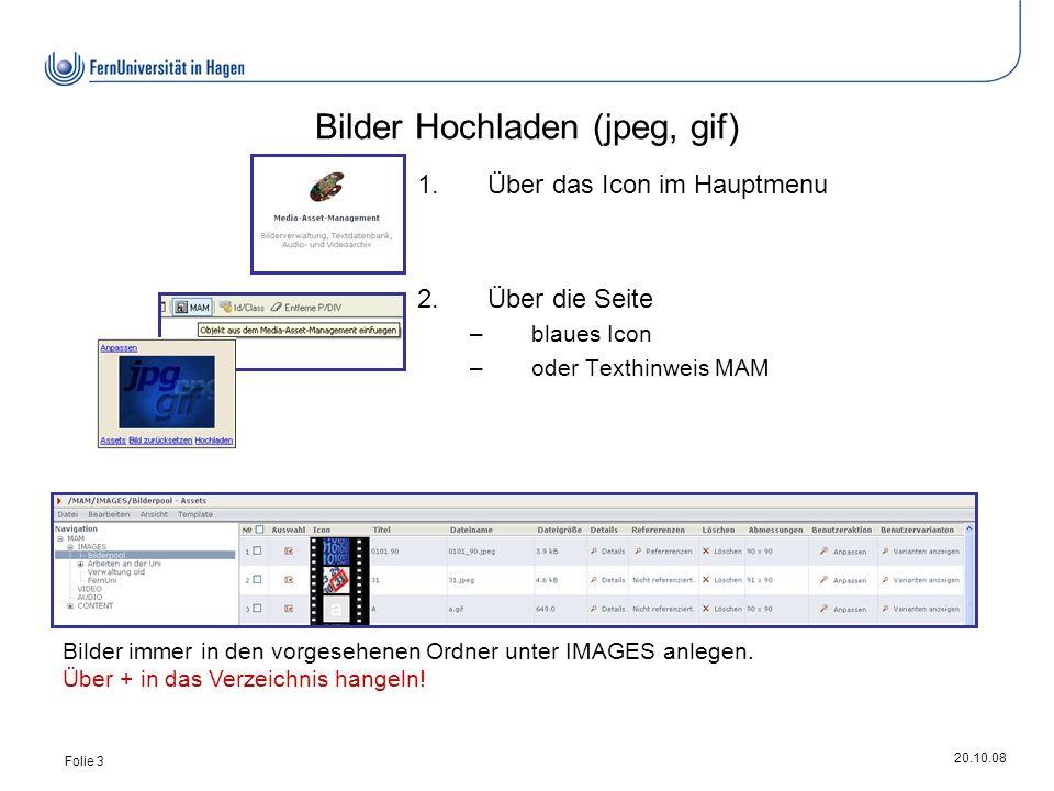 20.10.08 Folie 3 Bilder Hochladen (jpeg, gif) Bilder immer in den vorgesehenen Ordner unter IMAGES anlegen.