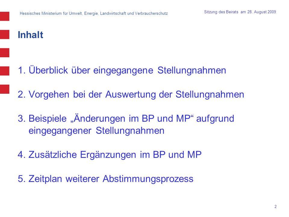 Hessisches Ministerium für Umwelt, Energie, Landwirtschaft und Verbraucherschutz 2 Sitzung des Beirats am 28. August 2009 Inhalt 1.Überblick über eing