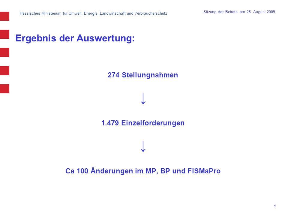 Hessisches Ministerium für Umwelt, Energie, Landwirtschaft und Verbraucherschutz 9 Sitzung des Beirats am 28. August 2009 Ergebnis der Auswertung: 274