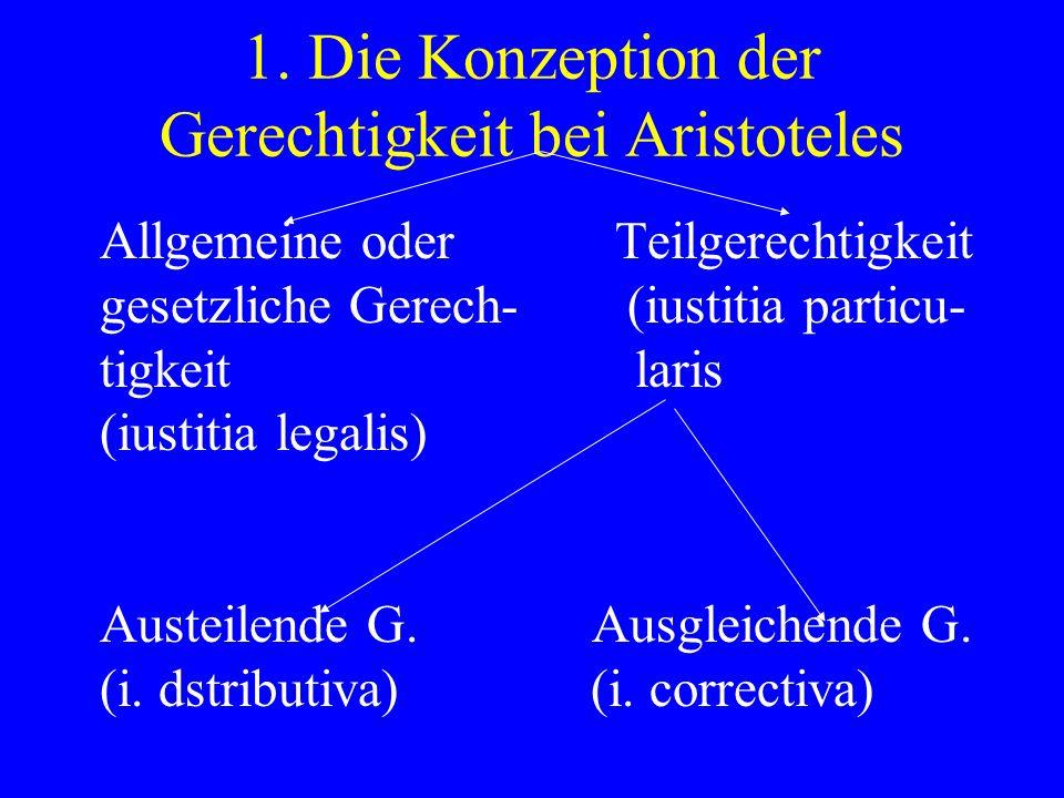 Allgemeine oder Teilgerechtigkeit gesetzliche Gerech- (iustitia particu- tigkeit laris (iustitia legalis) Austeilende G. Ausgleichende G. (i. dstribut