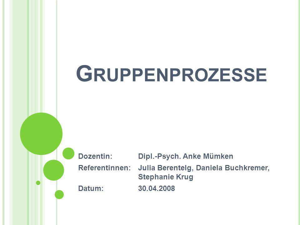 G RUPPENPROZESSE Dozentin:Dipl.-Psych. Anke Mümken Referentinnen:Julia Berentelg, Daniela Buchkremer, Stephanie Krug Datum:30.04.2008