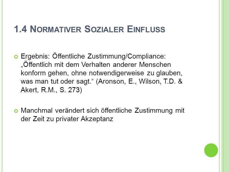 1.4 N ORMATIVER S OZIALER E INFLUSS Ergebnis: Öffentliche Zustimmung/Compliance: Öffentlich mit dem Verhalten anderer Menschen konform gehen, ohne not