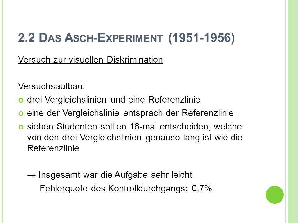 2.2 D AS A SCH -E XPERIMENT (1951-1956) Versuch zur visuellen Diskrimination Versuchsaufbau: drei Vergleichslinien und eine Referenzlinie eine der Ver