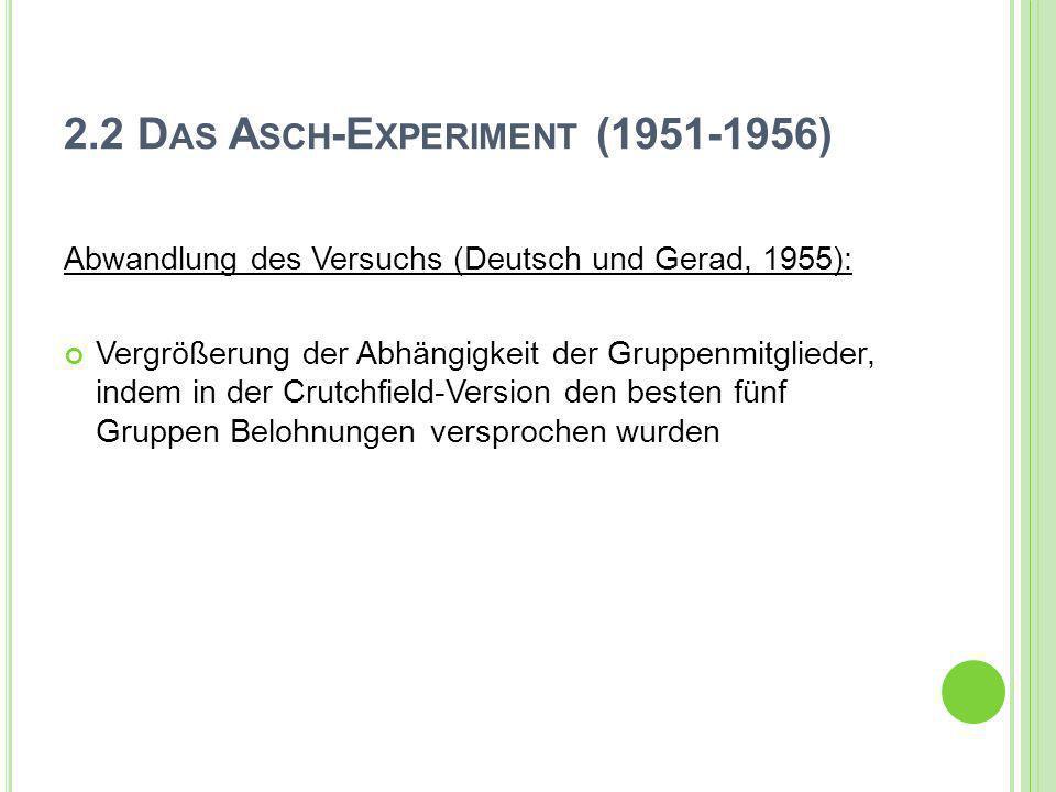 2.2 D AS A SCH -E XPERIMENT (1951-1956) Abwandlung des Versuchs (Deutsch und Gerad, 1955): Vergrößerung der Abhängigkeit der Gruppenmitglieder, indem