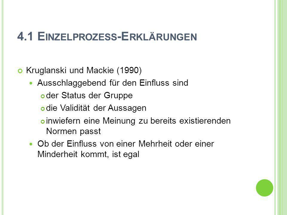 4.1 E INZELPROZESS -E RKLÄRUNGEN Kruglanski und Mackie (1990) Ausschlaggebend für den Einfluss sind der Status der Gruppe die Validität der Aussagen i