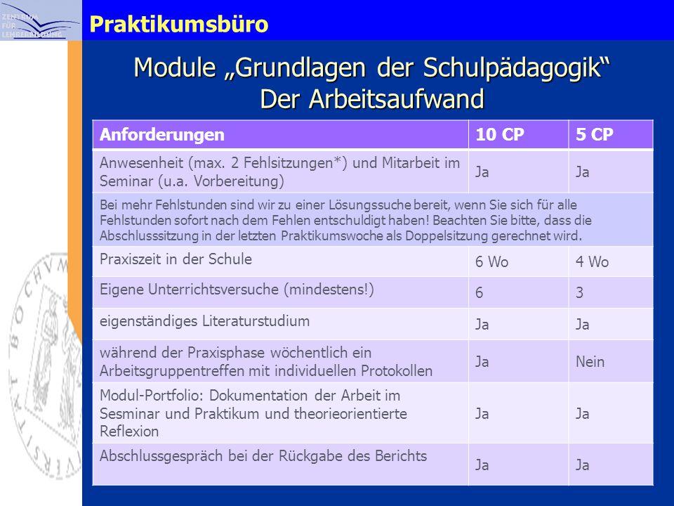 Praktikumsbüro Module Grundlagen der Schulpädagogik Der Arbeitsaufwand Anforderungen10 CP5 CP Anwesenheit (max. 2 Fehlsitzungen*) und Mitarbeit im Sem