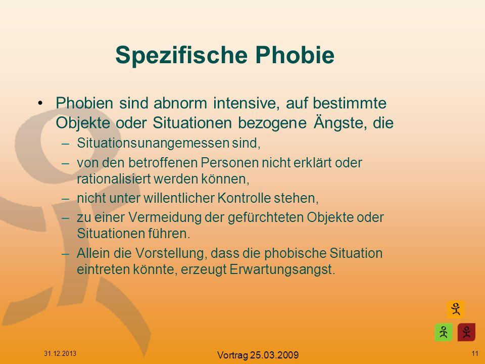 Spezifische Phobie Phobien sind abnorm intensive, auf bestimmte Objekte oder Situationen bezogene Ängste, die –Situationsunangemessen sind, –von den b