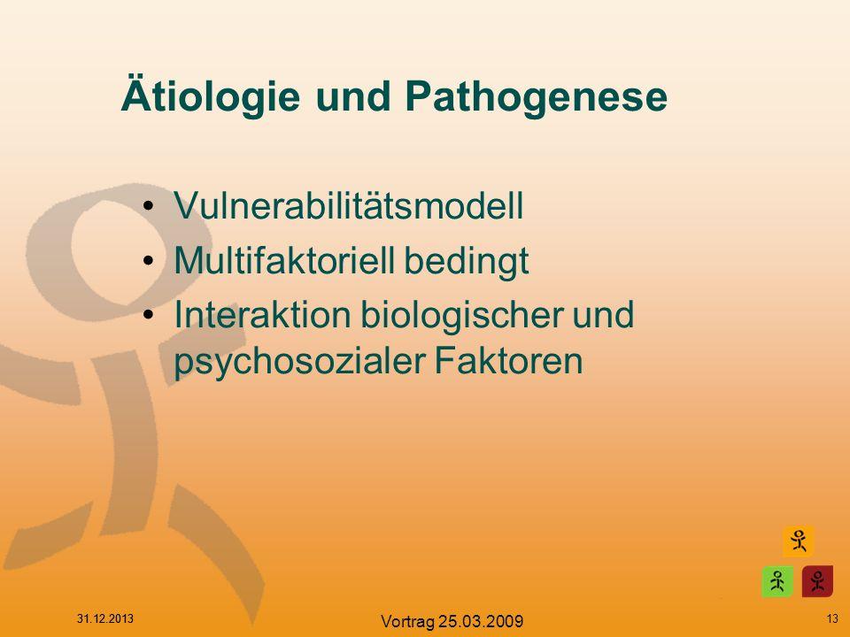 31.12.2013 Vortrag 25.03.2009 Ätiologie und Pathogenese Vulnerabilitätsmodell Multifaktoriell bedingt Interaktion biologischer und psychosozialer Fakt