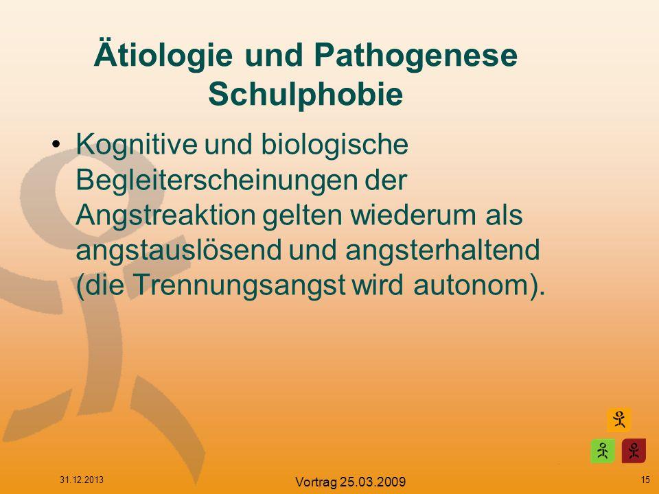 Ätiologie und Pathogenese Schulphobie Kognitive und biologische Begleiterscheinungen der Angstreaktion gelten wiederum als angstauslösend und angsterh
