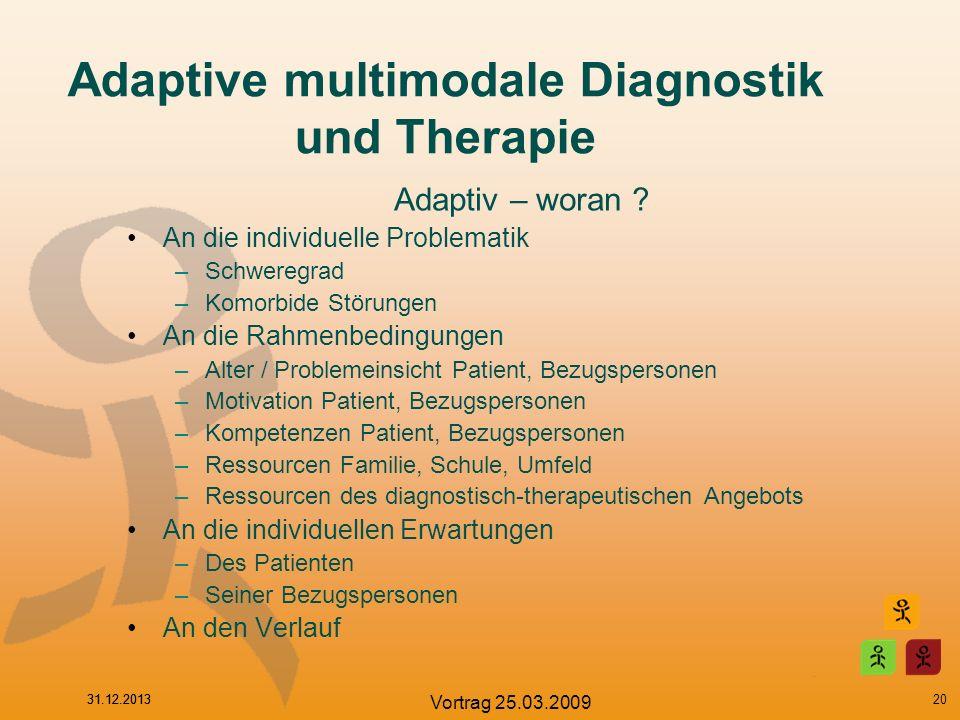 31.12.2013 Vortrag 25.03.2009 Adaptive multimodale Diagnostik und Therapie Adaptiv – woran ? An die individuelle Problematik –Schweregrad –Komorbide S