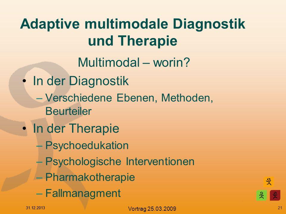 31.12.2013 Vortrag 25.03.2009 Adaptive multimodale Diagnostik und Therapie Multimodal – worin? In der Diagnostik –Verschiedene Ebenen, Methoden, Beurt