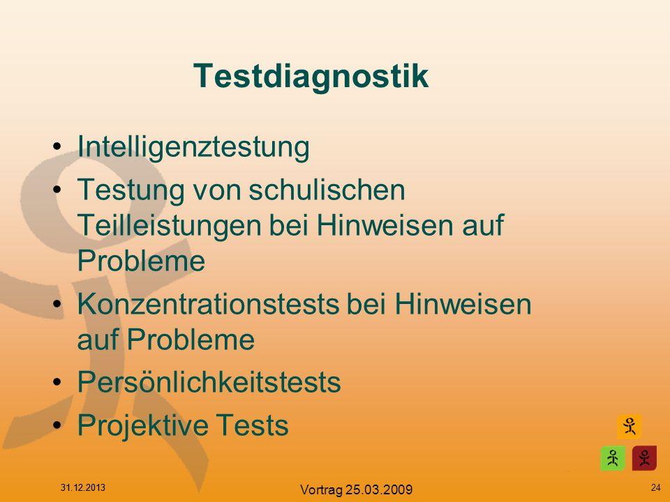 31.12.2013 Vortrag 25.03.2009 Testdiagnostik Intelligenztestung Testung von schulischen Teilleistungen bei Hinweisen auf Probleme Konzentrationstests