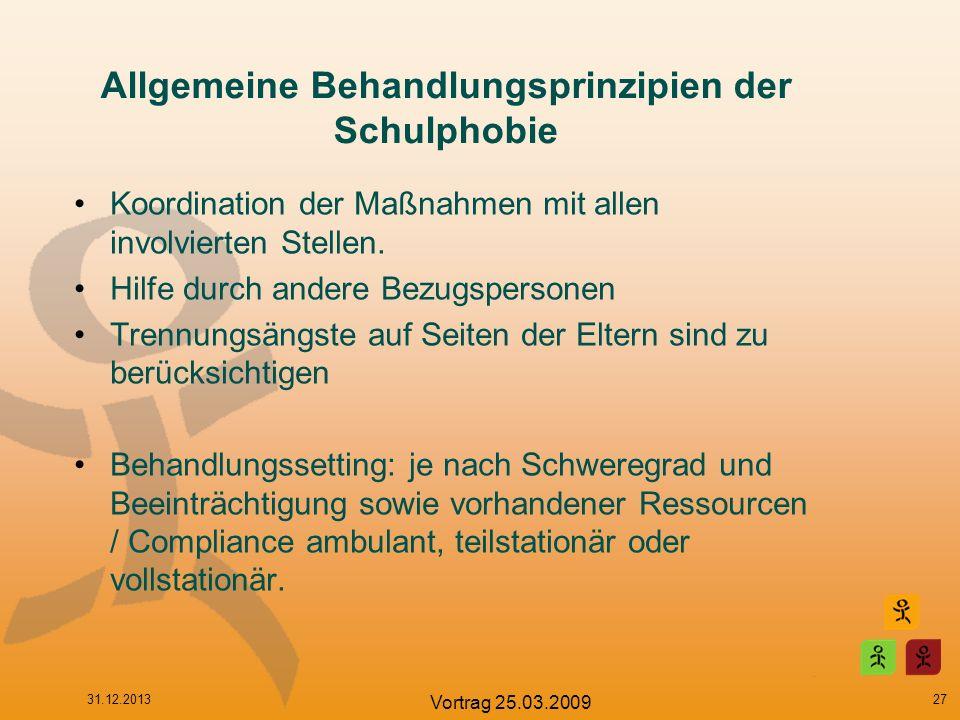 Allgemeine Behandlungsprinzipien der Schulphobie Koordination der Maßnahmen mit allen involvierten Stellen. Hilfe durch andere Bezugspersonen Trennung