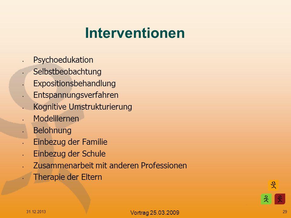 Interventionen Psychoedukation Selbstbeobachtung Expositionsbehandlung Entspannungsverfahren Kognitive Umstrukturierung Modelllernen Belohnung Einbezu