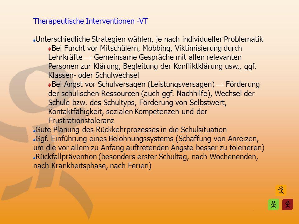 Therapeutische Interventionen -VT Unterschiedliche Strategien wählen, je nach individueller Problematik Bei Furcht vor Mitschülern, Mobbing, Viktimisi