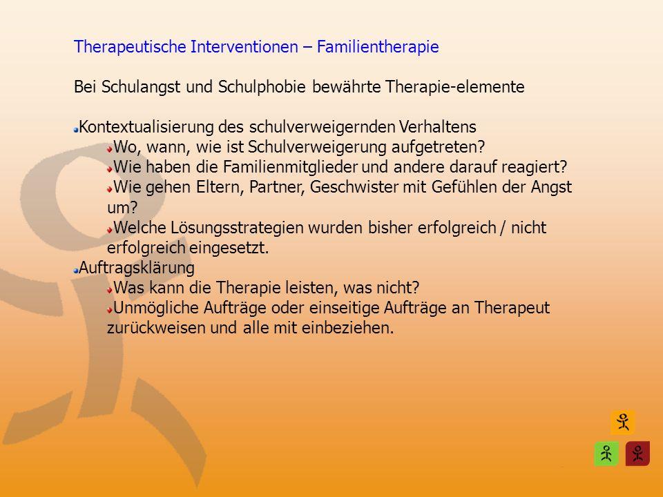 Therapeutische Interventionen – Familientherapie Bei Schulangst und Schulphobie bewährte Therapie-elemente Kontextualisierung des schulverweigernden V